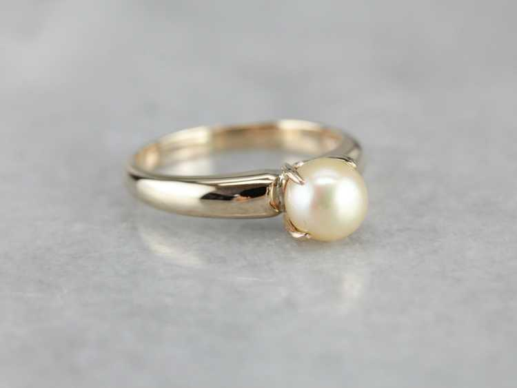 Classic Pearl Solitaire Gold Ring - image 2