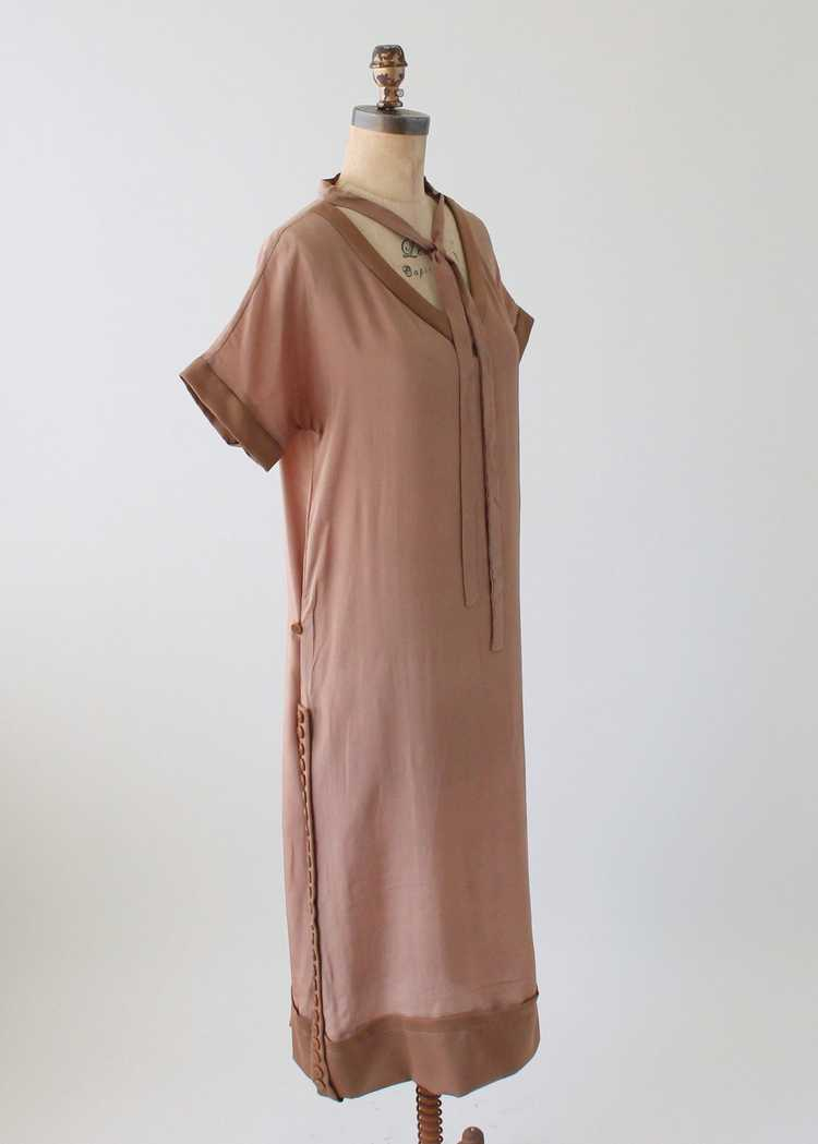 Vintage 1920s Brown Silk Day Dress with Duster Co… - image 4