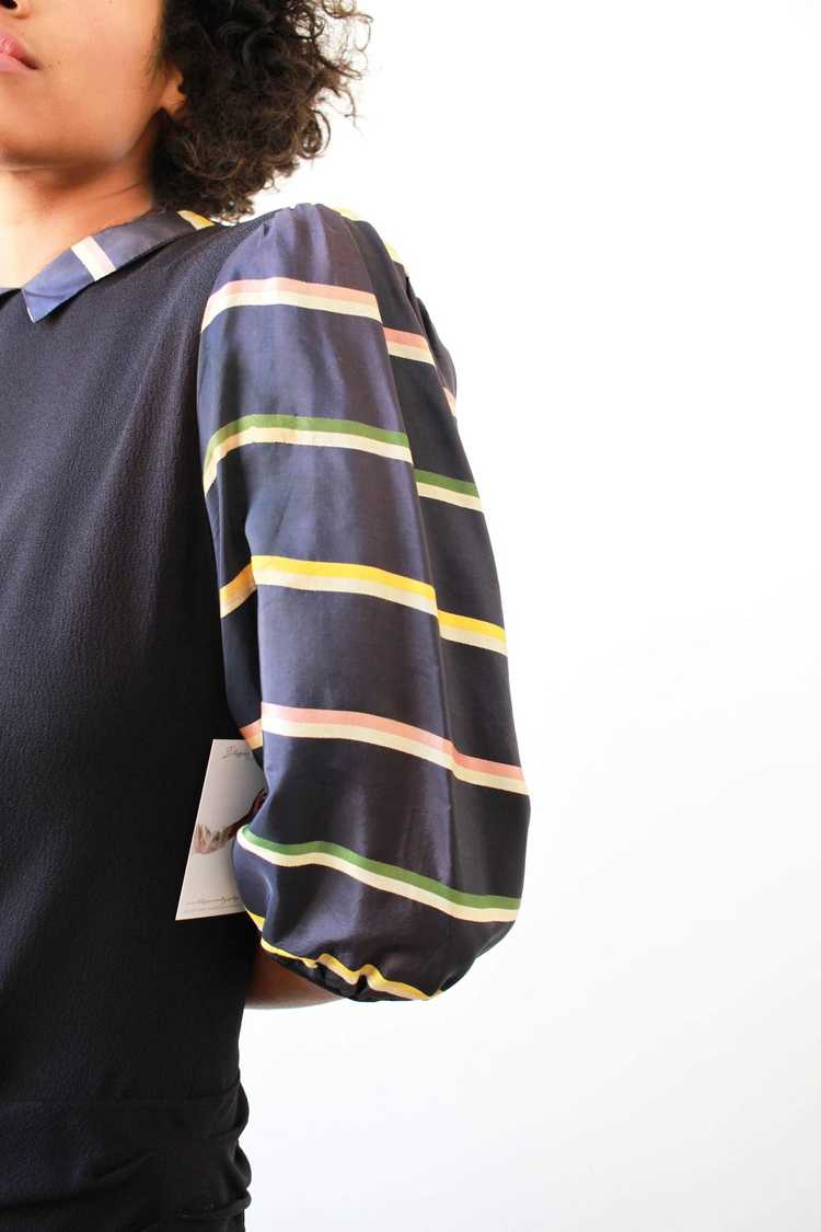 1940s Midnight Blue Puff Sleeve Rayon Dress - image 4