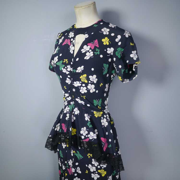 40s BUTTERFLY PRINT RAYON DRESS WITH PEPLUM AND K… - image 11
