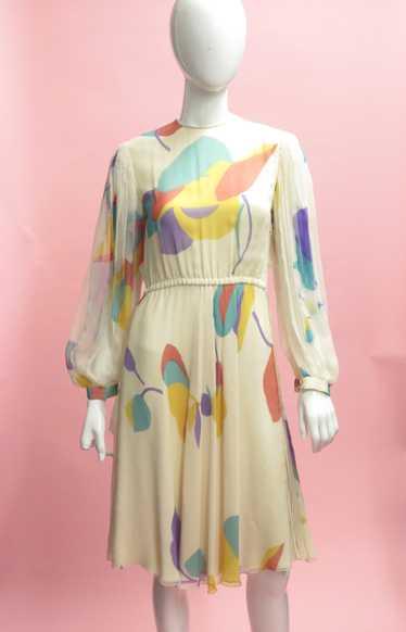 Galanos Floral Silk Chiffon Bishop Sleeve Dress