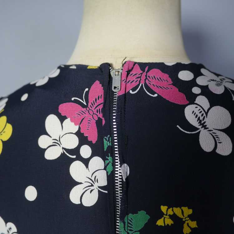 40s BUTTERFLY PRINT RAYON DRESS WITH PEPLUM AND K… - image 13