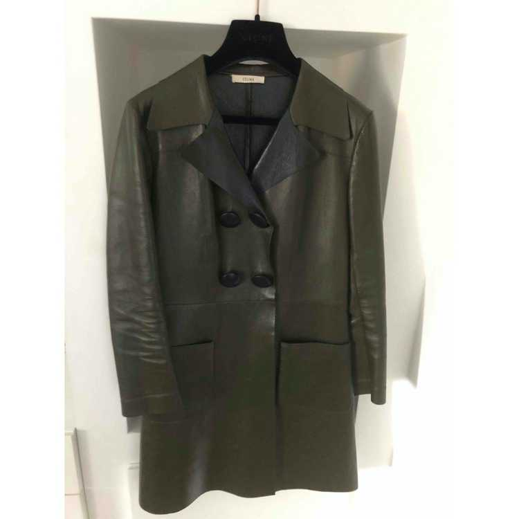 Celine Green Leather Leather jacket for Women 38 … - image 6
