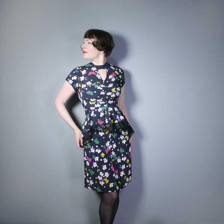 40s BUTTERFLY PRINT RAYON DRESS WITH PEPLUM AND K… - image 3