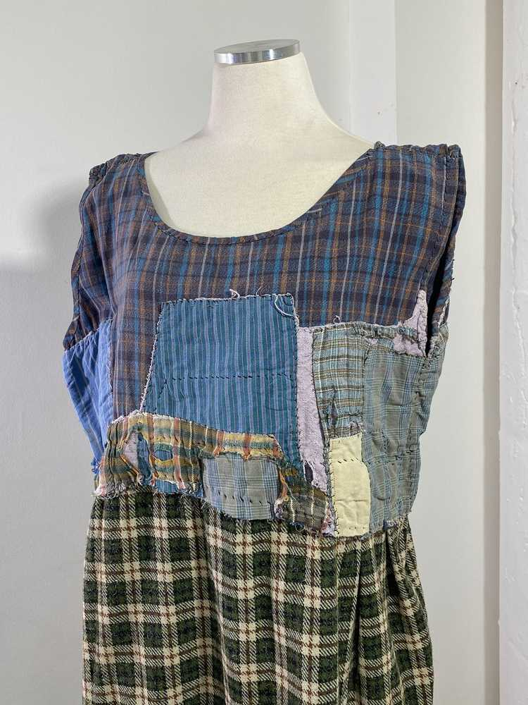 1960s-70s French Patchwork Peasant Dress - Lg. - image 2