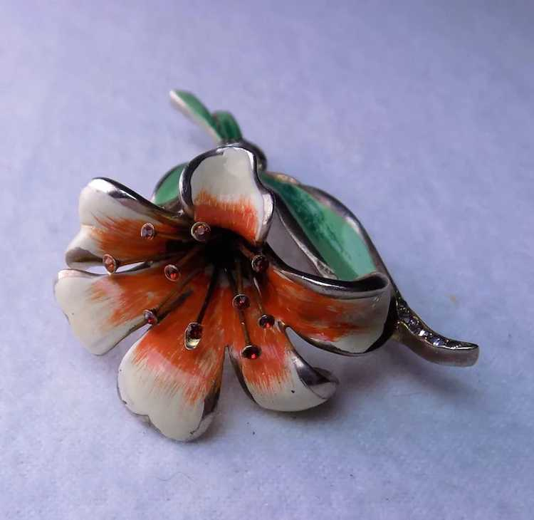 Early REJA Lily brooch pin 1940's - image 5
