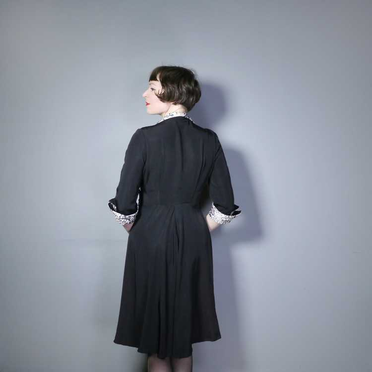 "40s 50s BLACK RAYON ""BICKLER"" DRESS WITH LEOPARD … - image 5"