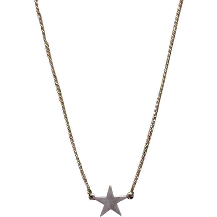 celestial necklace Sterling silver Puffy 3D STAR pendant with chain necklace