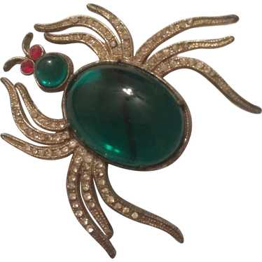 1930's Green Cabochon Belly Spider Pin