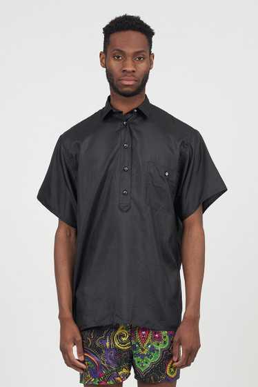 Vintage Satin Black Marella Short Sleeved Shirt