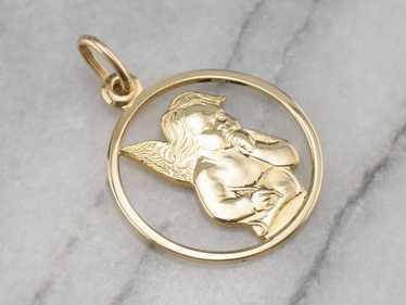 14K Gold Cherub Medal Pendant