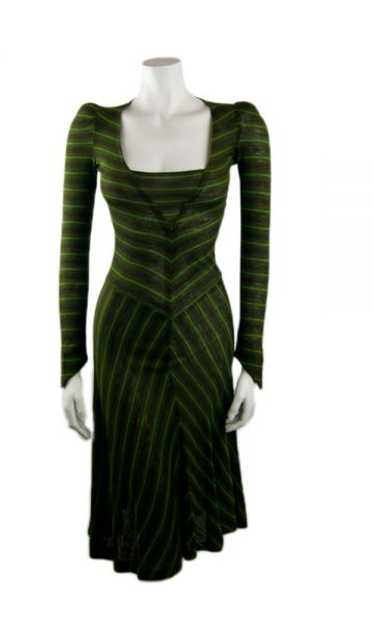 Vintage Biba Green Striped Jersey Dress 1970