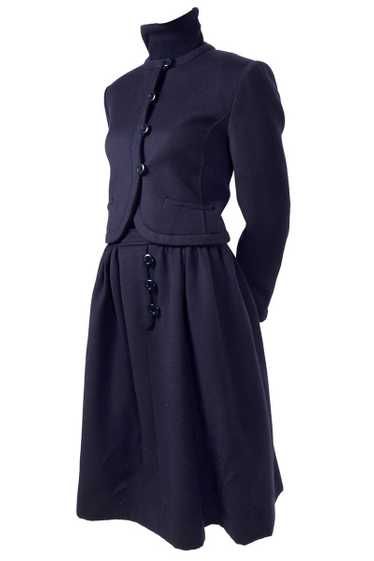1970s Valentino Vintage Navy Blue Wool Dress Suit