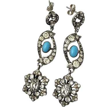 Antique Silver Paste Turquoise Chandelier Earrings