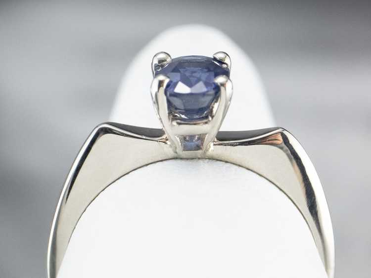 White Gold Sapphire Solitaire Ring - image 8