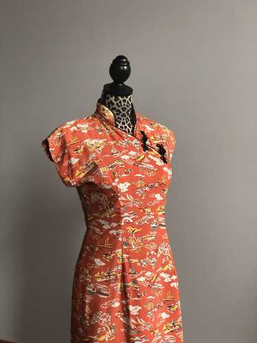 1940s Cold Rayon Novelty Print Cheongsam Dress //
