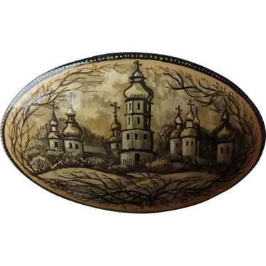 Vintage Russian Hand-Painted Lacquer Brooch Orthod