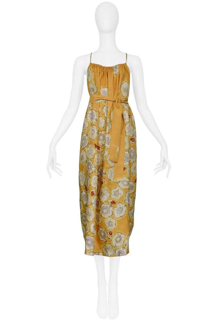 DRIES YELLOW GOLD FLORAL SLIP DRESS & SASH - image 1