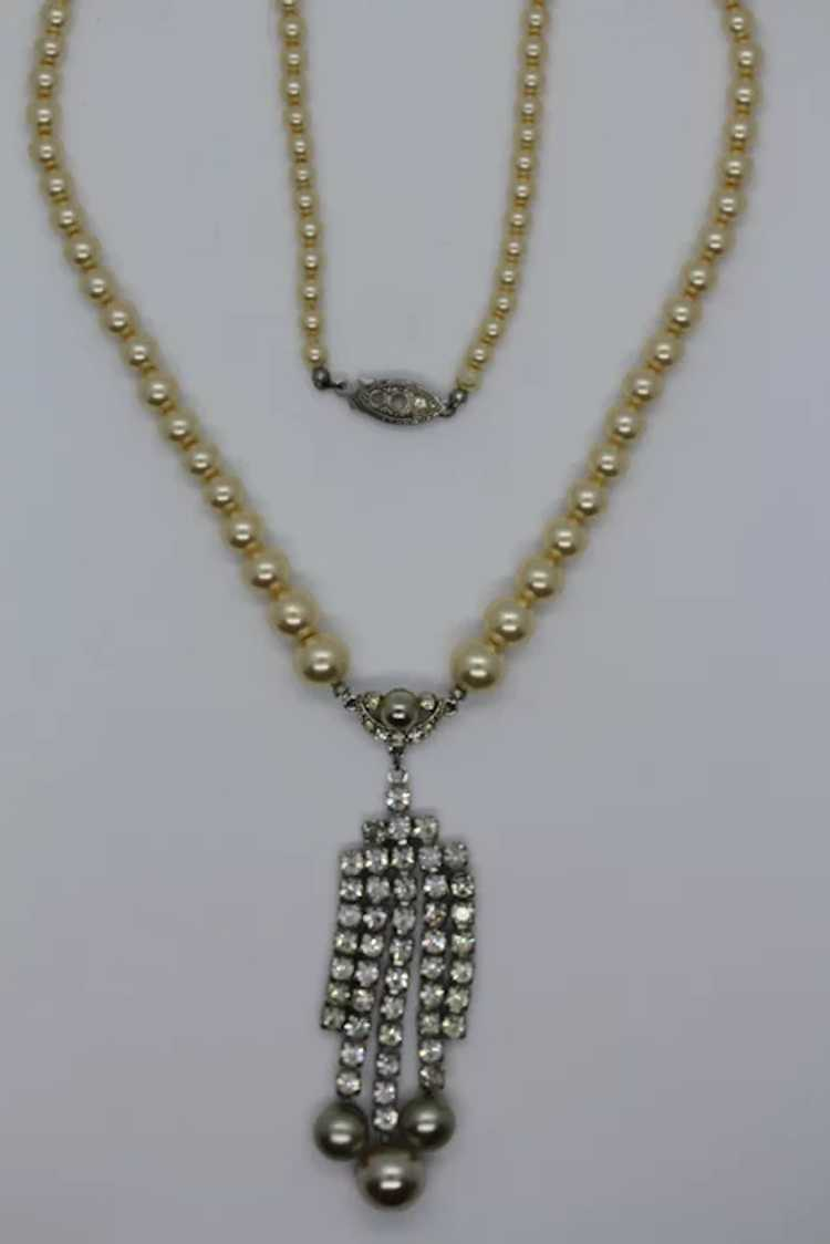 Marvella Faux Pearl and Rhinestone Necklace - image 5