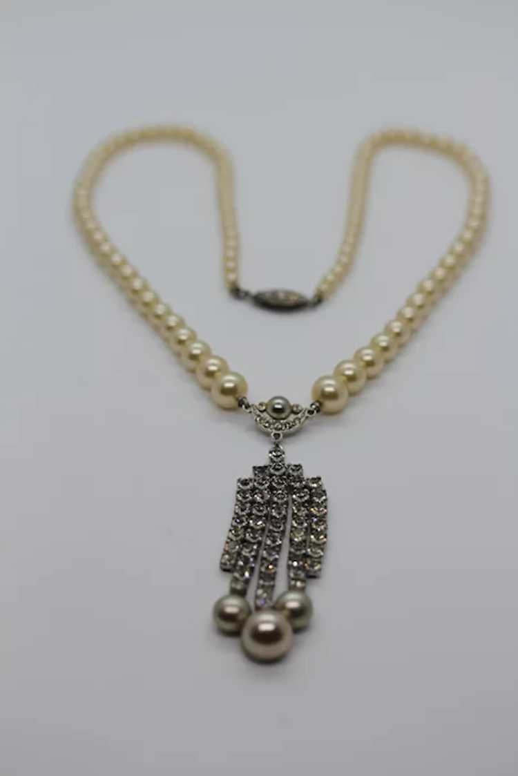 Marvella Faux Pearl and Rhinestone Necklace - image 4