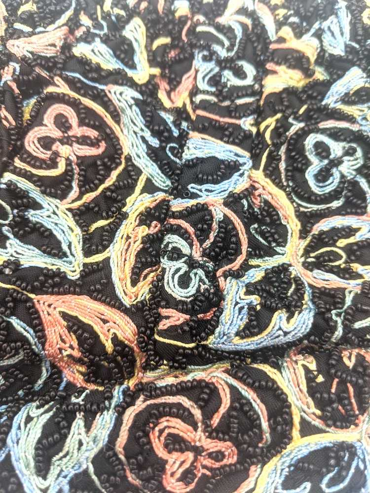 40s Purse Black Beaded and Embroidered evening pu… - image 2