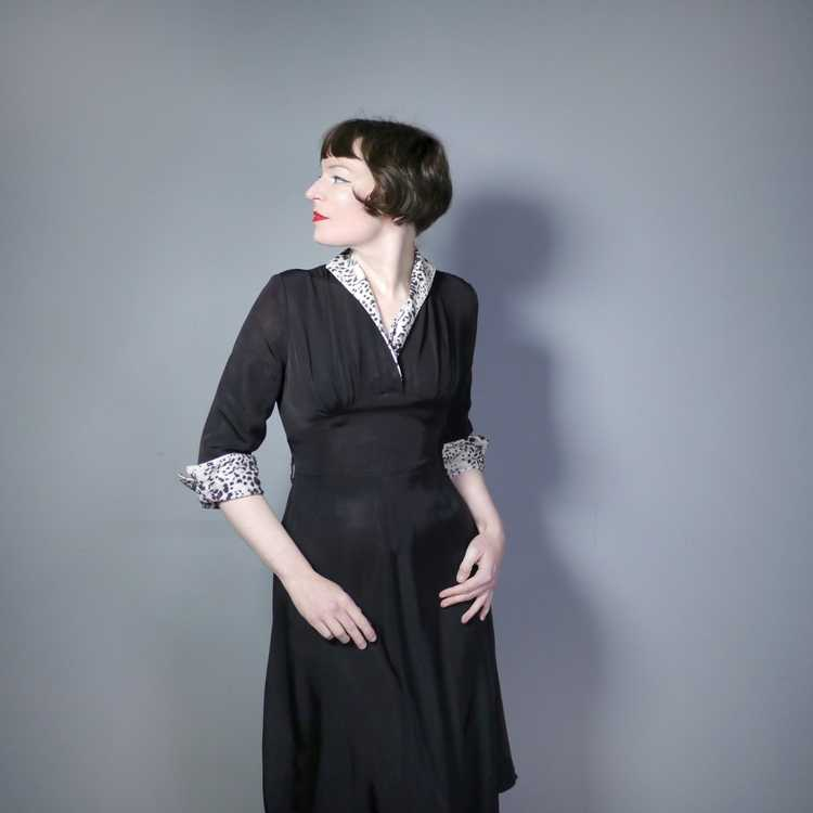 "40s 50s BLACK RAYON ""BICKLER"" DRESS WITH LEOPARD … - image 4"