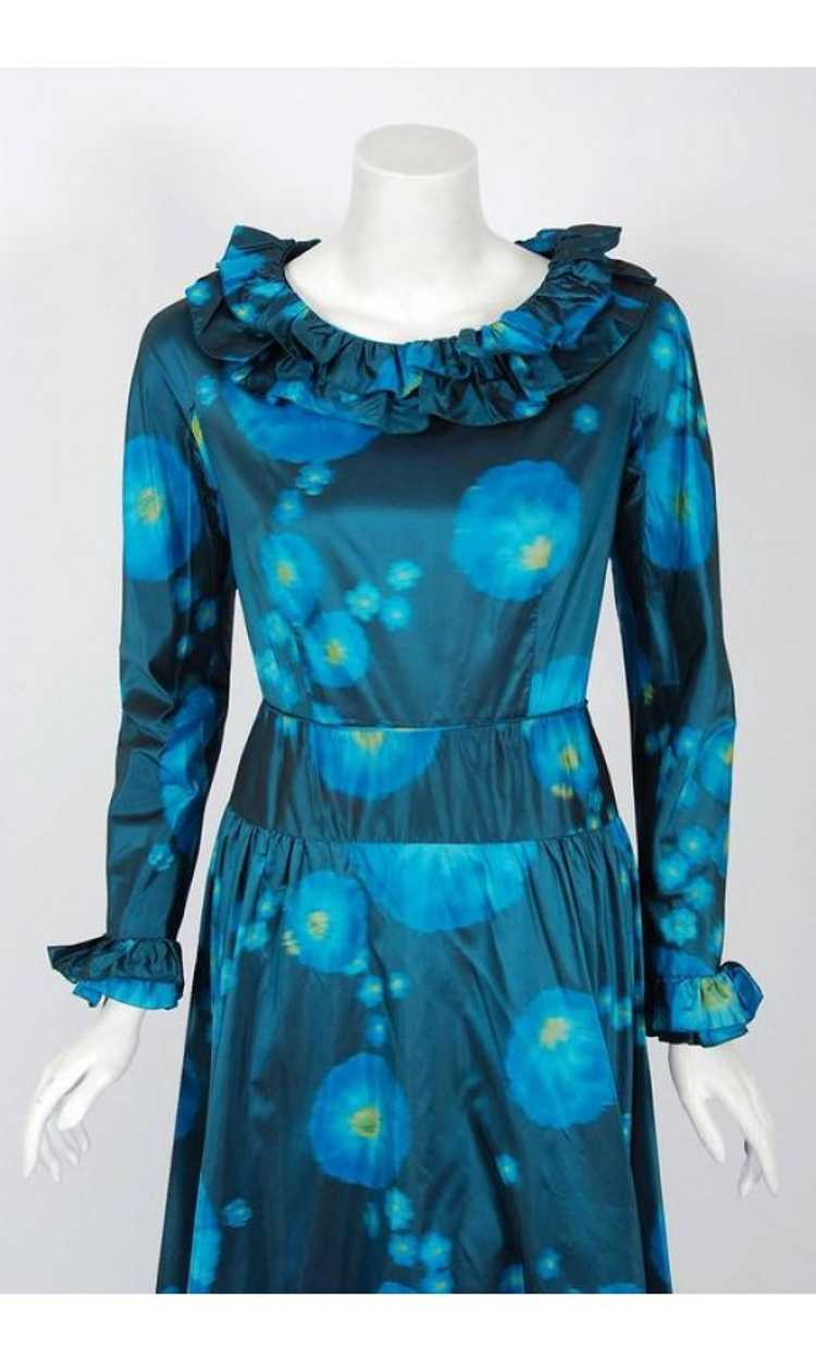 1966 Arnold Scaasi Couture Watercolor Blue Floral… - image 2