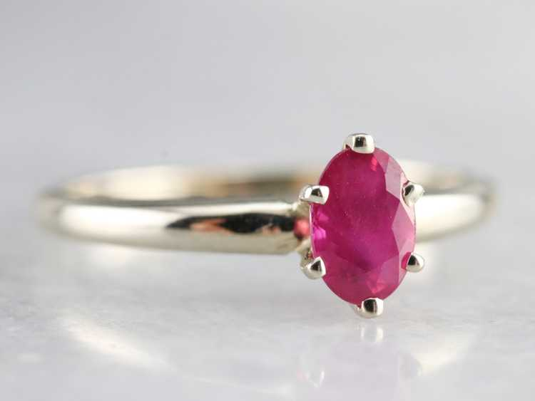 White Gold Ruby Solitaire Ring - image 3