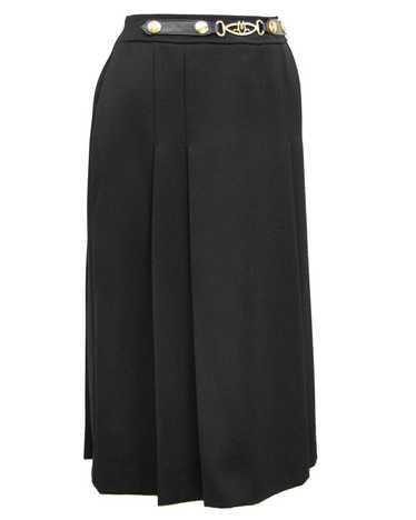 Marelli Black Wool Gabardine Pleated Skirt