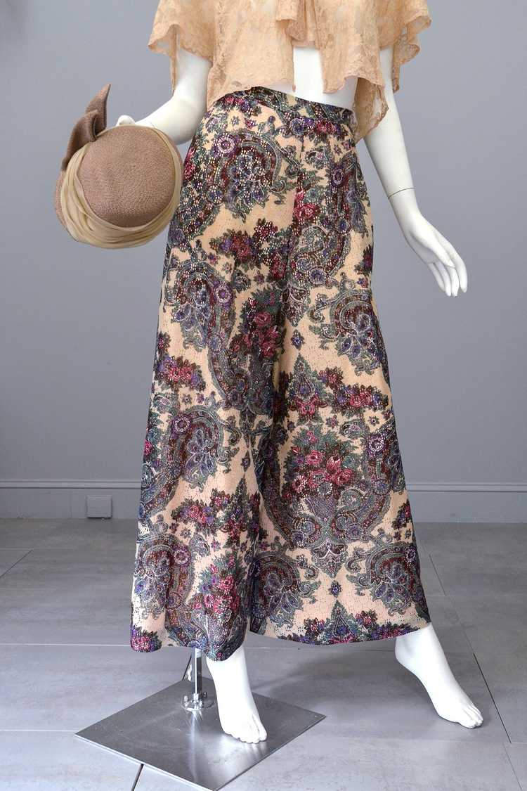 1970s Lacey Floral Print Palazzo Pants - image 5