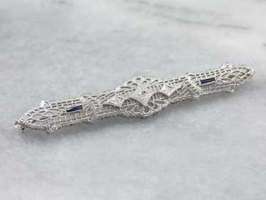 Art Deco Diamond Filigree Brooch