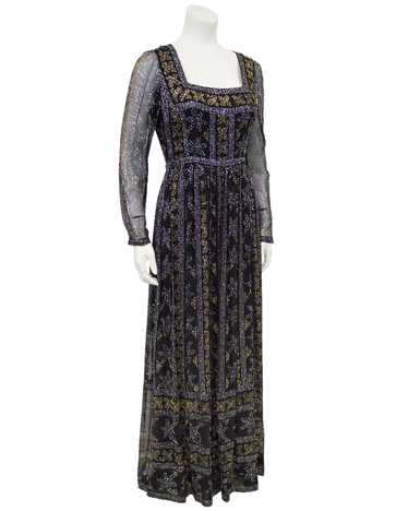 Malcolm Starr Black Chiffon Gown with Silver and G