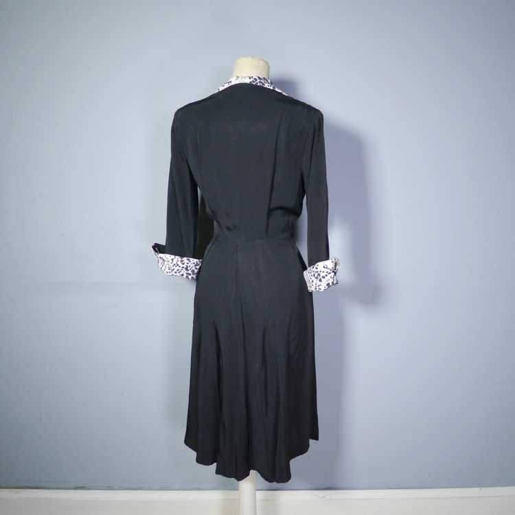 "40s 50s BLACK RAYON ""BICKLER"" DRESS WITH LEOPARD … - image 11"