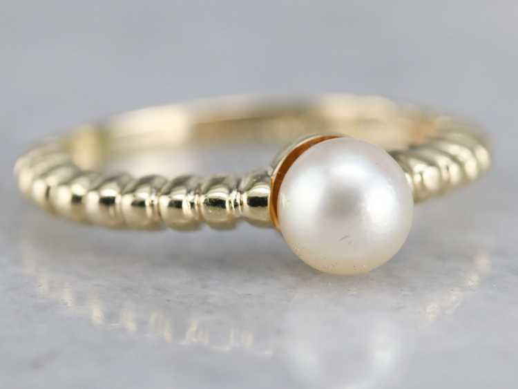 Yellow Gold Pearl Solitaire Ring - image 2