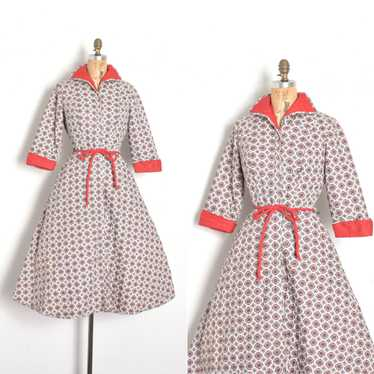 1950s Quilted Cotton House Coat-small