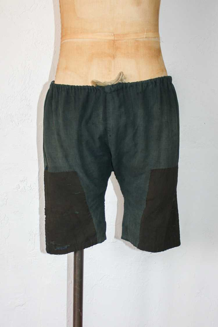 1930s 40s Japanese Linen Patched Workwear Shorts - image 1