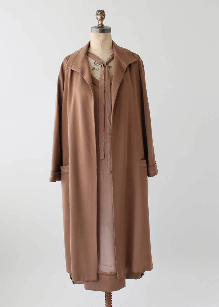 Vintage 1920s Brown Silk Day Dress with Duster Co… - image 11