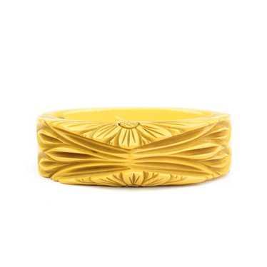 40s Carved Bakelite Hinged Bracelet