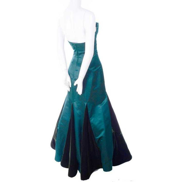 Arnold Scaasi Strapless Green Evening Gown W/ Vel… - image 5