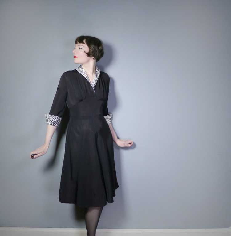 "40s 50s BLACK RAYON ""BICKLER"" DRESS WITH LEOPARD … - image 3"