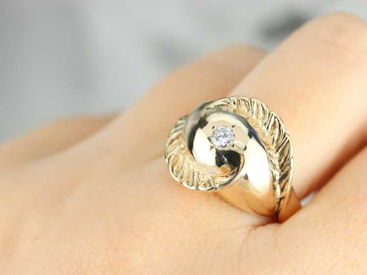 Diamond Solitaire Gold Feather Ring - image 7