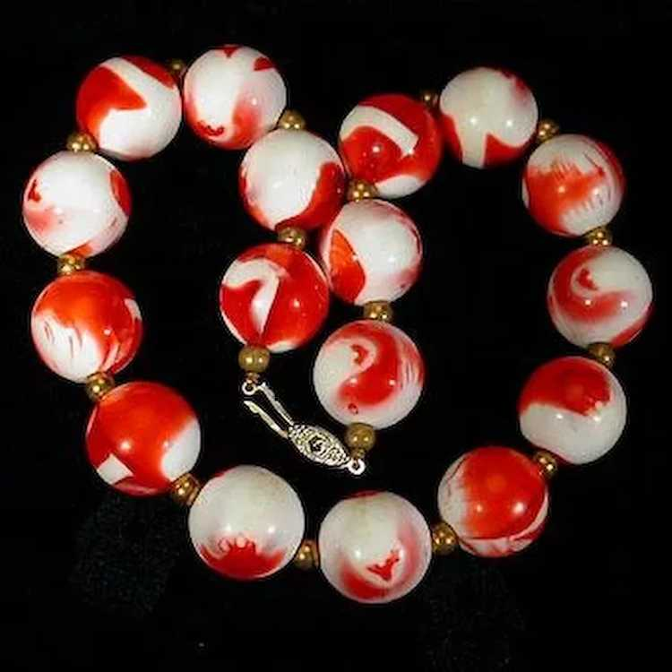 Strawberries and Cream Beaded Necklace - image 5