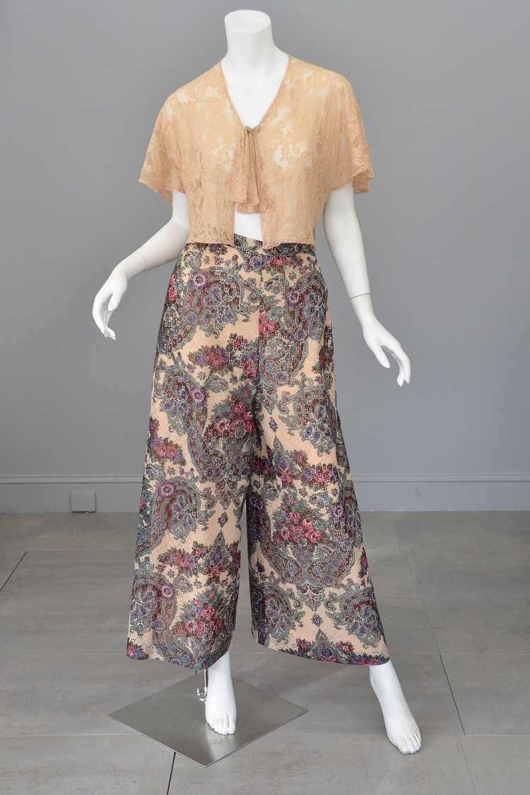 1970s Lacey Floral Print Palazzo Pants - image 6