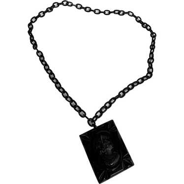 Black Celluloid Cameo Necklace