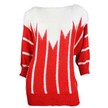1980's Sweater Red & White Mohair Stripe Vintage