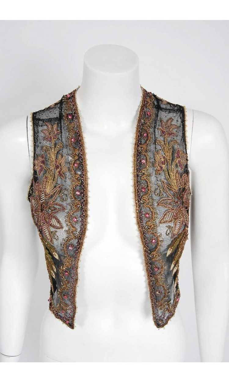 1910 Edwardian Antique Embroidered Beaded Floral … - image 3