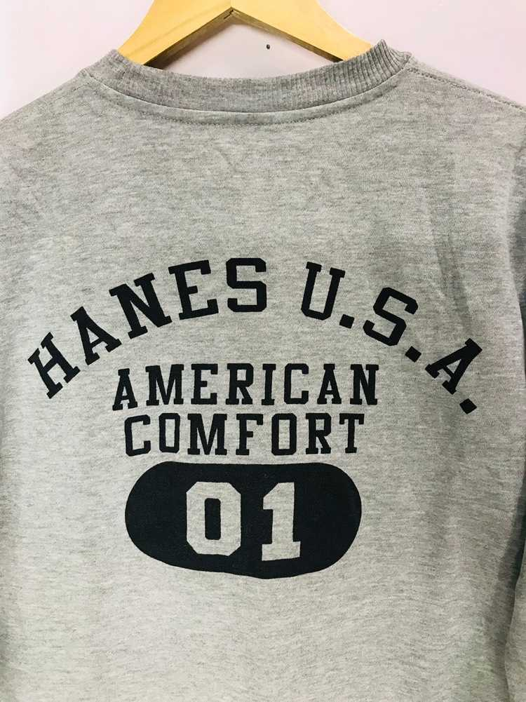 Hanes USA American Comfort 01 Crew Sweatshirt Spell Out Gray Sweater Size Large Rare!