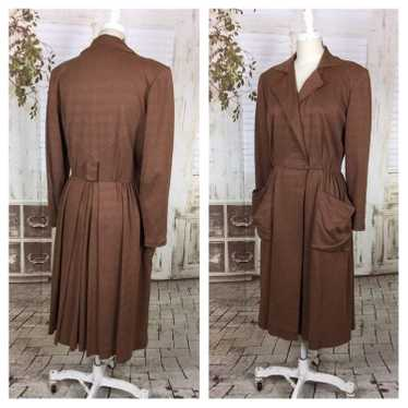 Original 1940s 40s Vintage Brown Gabardine Faux Su