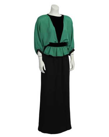 Valentino Green and Black Gown