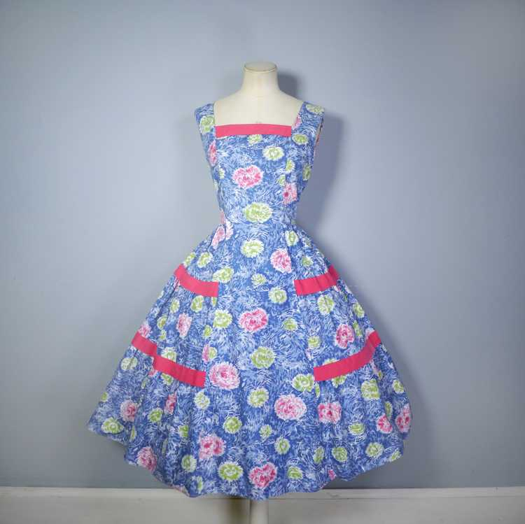 50s FEATHERY FLORAL BLUE COTTON DRESS WITH TIERED… - image 5